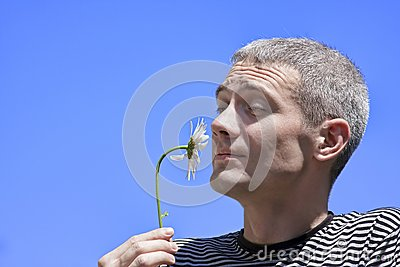 The man and a flower