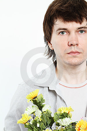 Man with flowers.