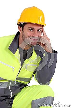 Man in fluorescent overalls