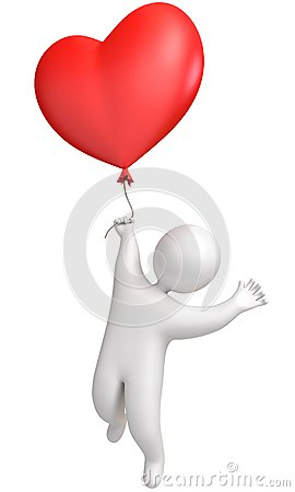 Man flying in a balloon