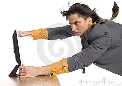 Man flying at computer