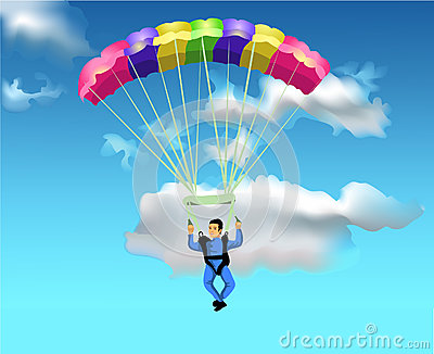 Man flying with the parachute