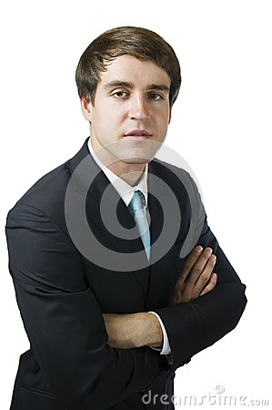 Man fold ones arms on white