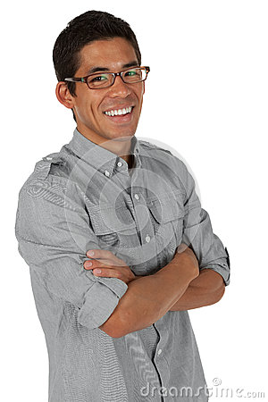 Man folding his arms smiling