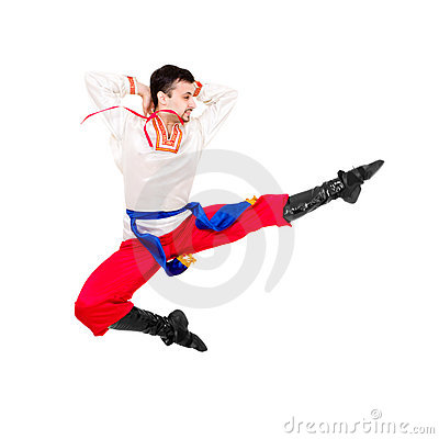 Man in folk ukrainian costume jumping