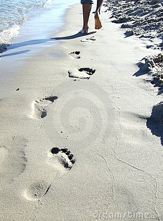 Free Man Footprint On Sand Stock Photo - 9247340