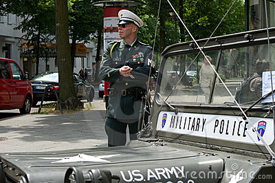 A man in the form of a military police Editorial Stock Image