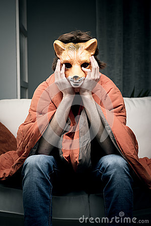 Man with fox mask