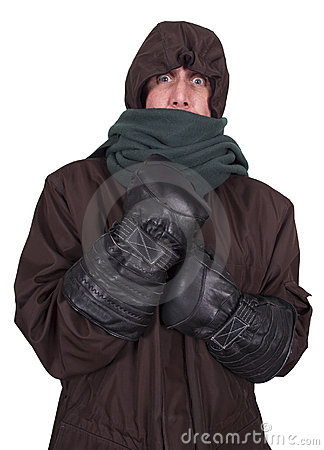 Man Freezing Cold, Winter Bundled up Coat Isolated