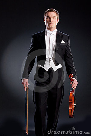 Man In Frock Coat With Violin