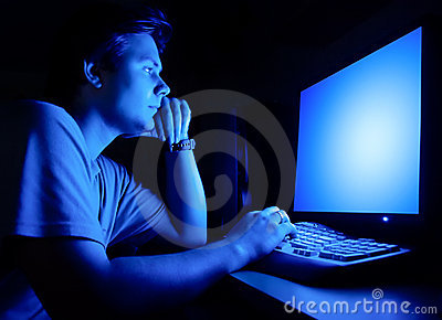Man In Front Of Computer Screen Royalty Free Stock Photos Image 4888458