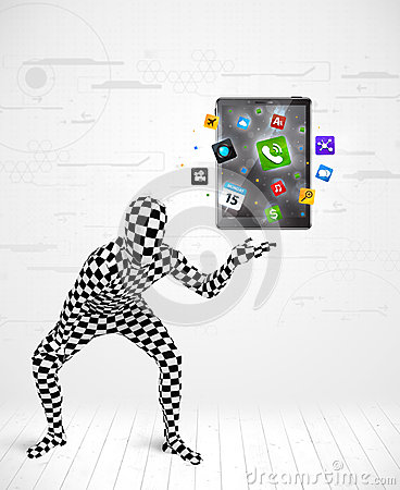 Man in full body suit holdig tablet pc Stock Photo