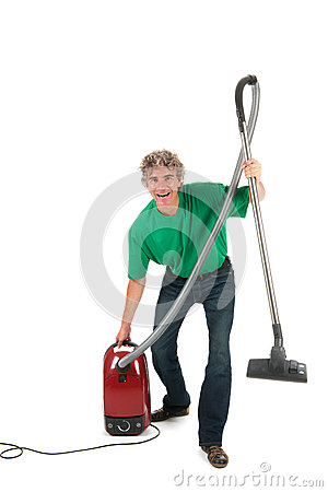Man with fun while housekeeping