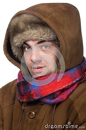 Man in a fur hat macro