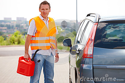 Man with gas can
