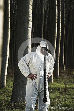 Man with gas mask