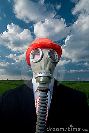 Man in gas mask and hat