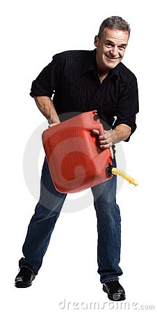 Man with gasoline