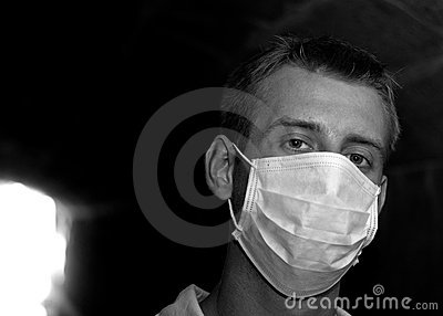 Man with gauze bandage in dark tunnel