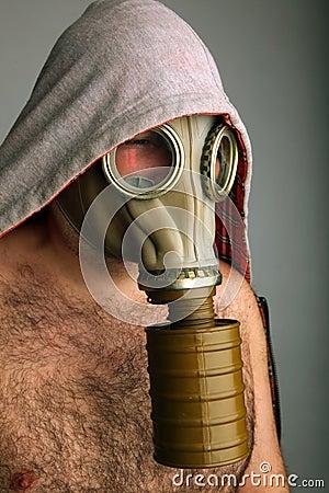 Man with gaz mask