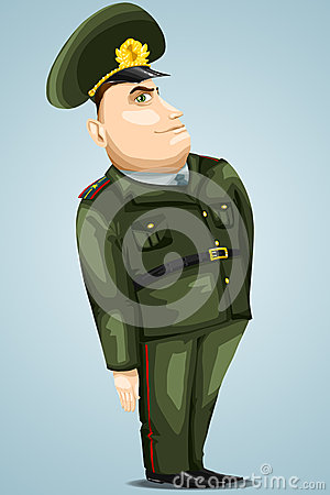 Man general army character cartoon style  illustration