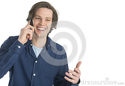 Man Gesturing While Answering Smart Phone