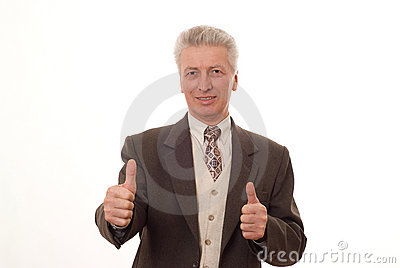 Man gesturing a thumbs up isolated on white
