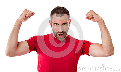 Man gesturing win