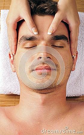 Man geting a face massage