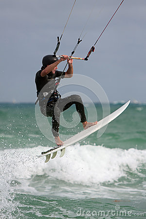 Man Gets Airborne Parasail Surfing In Florida Editorial Image