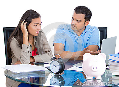 Man getting angry at woman for spending too much money a