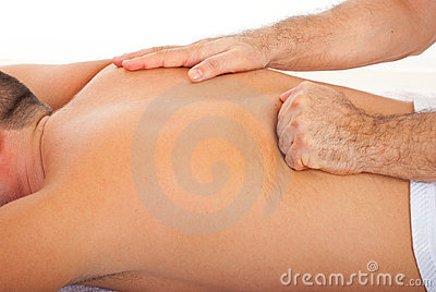 Man getting deep back  massage