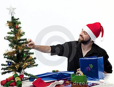 Man getting ready for Christmas