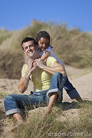 Man & Girl Happy Father Daughter Playing At Beach