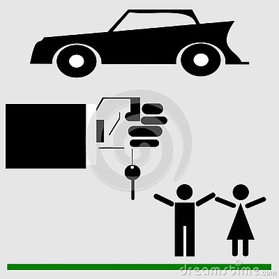 Married couple, man and woman. Gift car, car keys. Vector Illustration