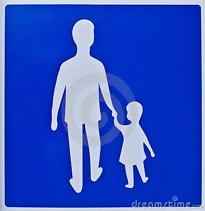 Man and girl silhouette