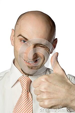 Man gives thumbs up