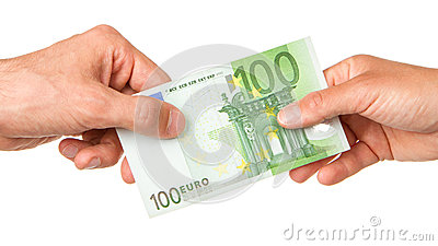Man giving 100 euro to a woman