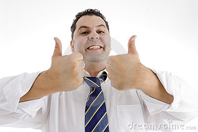 Man giving acceptance with thumbs up