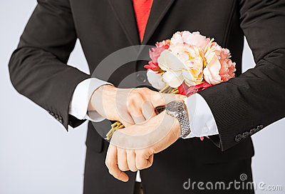 Man giving bouquet of flowers