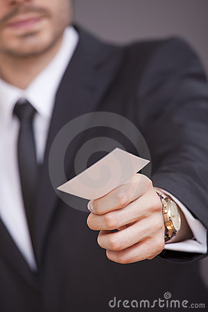 Free Man Giving Business Card Stock Photography - 15442002