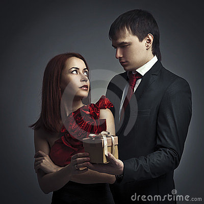 Man giving gift to his beloved