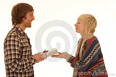 Man giving girlfriend present