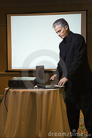 Man giving presentation.