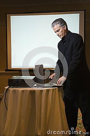 Man giving presentation.