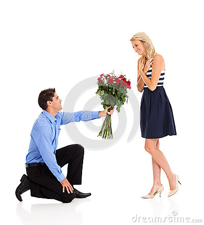 Man giving roses to a woman