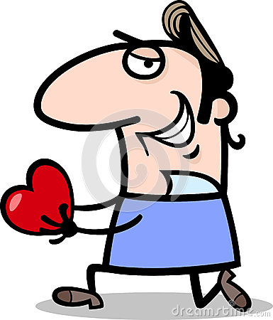 Man giving valentine cartoon illustration