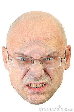 Man with glasses  angry facial expression
