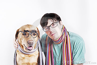 Man  in glasses and dog in glasses