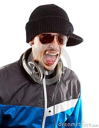Man in glasses with headphones screaming